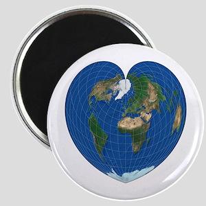 World Map Heart: Magnet