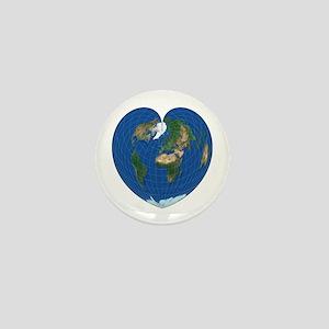 World Map Heart: Mini Button