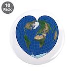 """World Map Heart: 3.5"""" Button (10 pack)"""