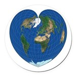 World Map Heart: Round Car Magnet