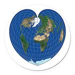 World Map Heart: Round Car Magnet