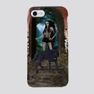 Wonderful dark fairy with wolf iPhone 7 Tough Case
