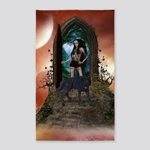 Wonderful dark fairy with wolf Area Rug