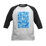 Blue Water texture Kids Baseball Jersey