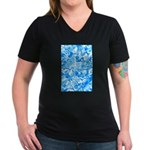 Blue Water texture Women's V-Neck Dark T-Shirt