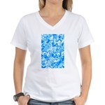 Blue Water texture Women's V-Neck T-Shirt