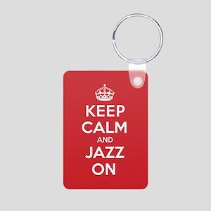 Keep Calm Jazz Aluminum Photo Keychain
