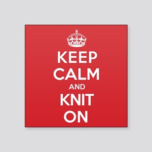 "Keep Calm Knit Square Sticker 3"" x 3"""