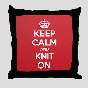 Keep Calm Knit Throw Pillow