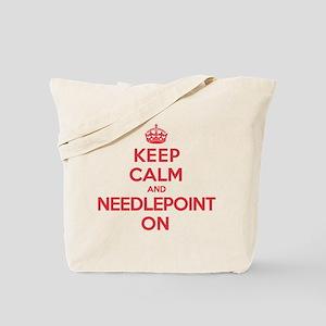 Keep Calm Needlepoint Tote Bag
