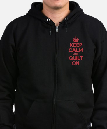 Keep Calm Quilt Zip Hoodie (dark)