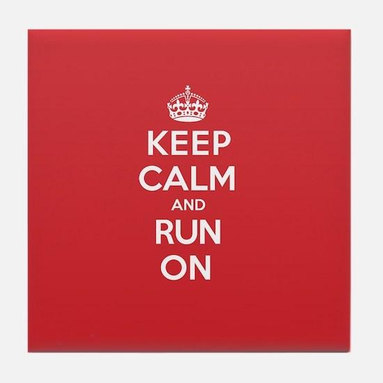 Keep Calm Run Tile Coaster