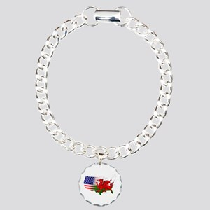 American Welsh Map Charm Bracelet, One Charm