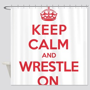 K C Wrestle On Shower Curtain