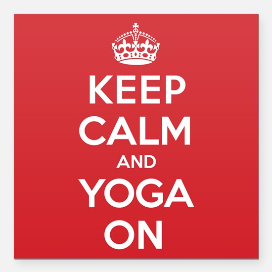 "K C Yoga On Square Car Magnet 3"" x 3"""