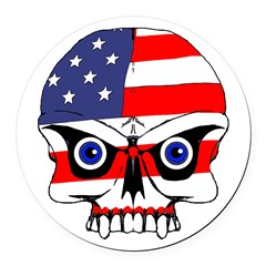 Freedom skull Round Car Magnet
