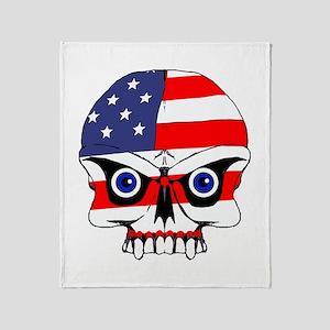 Freedom skull Throw Blanket