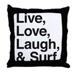 love and surf Throw Pillow