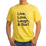 love and surf Yellow T-Shirt