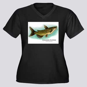 Channel Catfish Women's Plus Size V-Neck Dark T-Sh