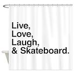 love and skateboard Shower Curtain