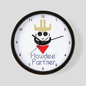 Howdee' Part'ner Cowboy Wall Clock