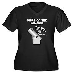 Tour The Cosmos Women's Plus Size V-Neck Dark T-Sh