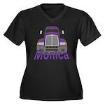 Trucker Monica Women's Plus Size V-Neck Dark T-Shi