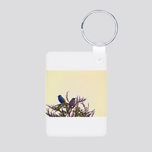 Pair of Starling Birds Aluminum Photo Keychain
