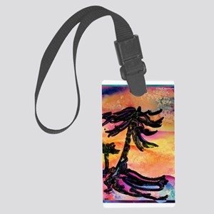 Tropical palm trees, sunset art! Large Luggage Tag