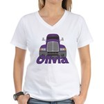 Trucker Olivia Women's V-Neck T-Shirt