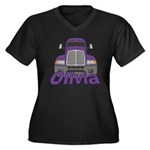 Trucker Olivia Women's Plus Size V-Neck Dark T-Shi