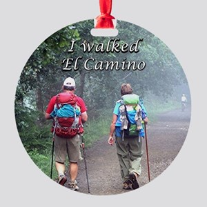 I walked El Camino, Spain, walkers Round Ornament
