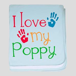 I Love Poppy baby blanket