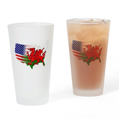 American Welsh Map Drinking Glass