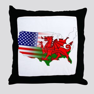 American Welsh Map Throw Pillow
