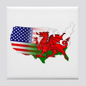 American Welsh Map Tile Coaster