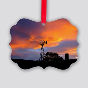 Sunset on the Farm Picture Ornament