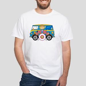 Hippie Girl with Drum Kit White T-Shirt