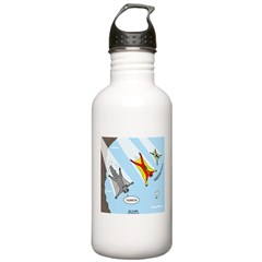 Squirrel and Basejumpers Cartoon Water Bottle