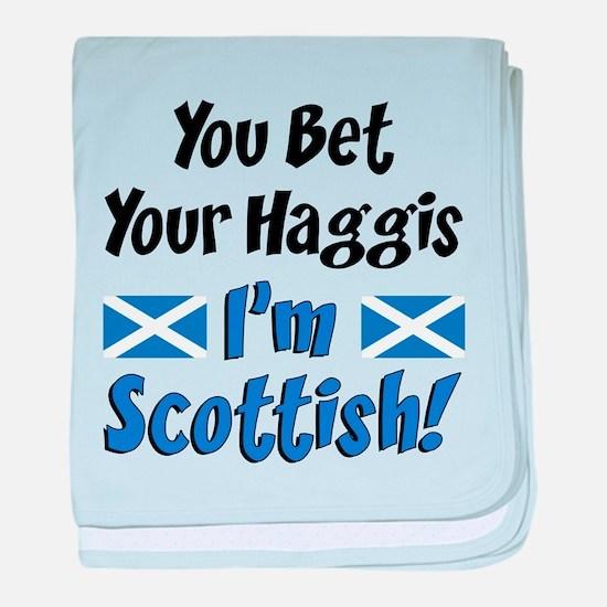Bet Haggis Im Scottish baby blanket
