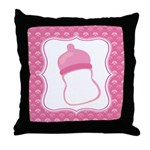 Baby Girl Pink Bottle Throw Pillow