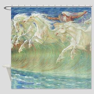 NEPTUNE'S HORSES Shower Curtain