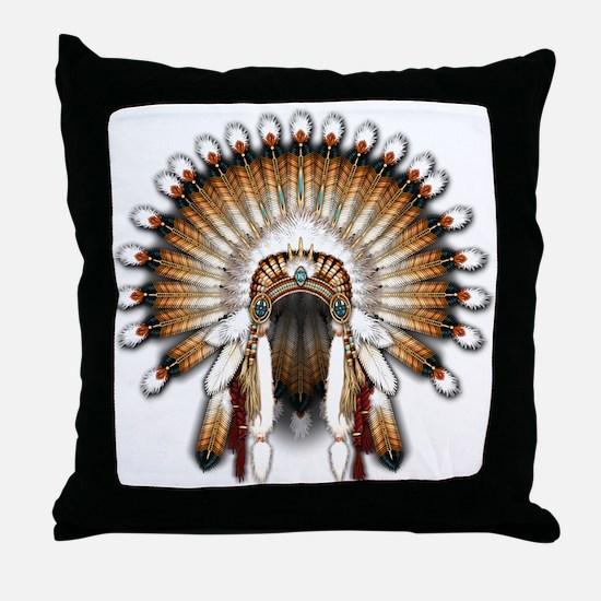 Native War Bonnet 01 Throw Pillow