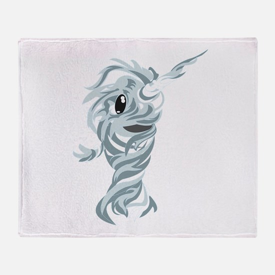 Wind Narwhal Throw Blanket