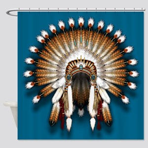Native War Bonnet 01 - blue back shower curtain