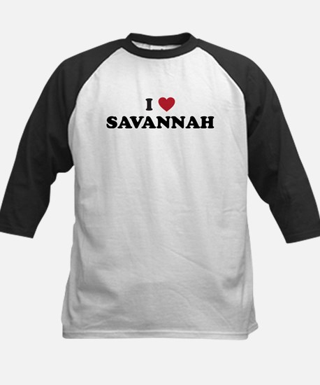 I Love Savannah Georgia Kids Baseball Jersey