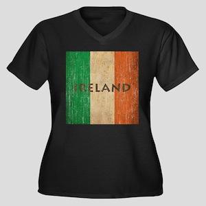 Vintage Ireland Women's Plus Size V-Neck Dark T-Sh