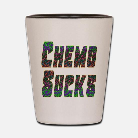 chemo sucks acid colors Shot Glass