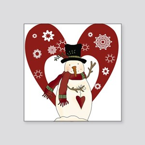 "snowmanheartsnow Square Sticker 3"" x 3"""